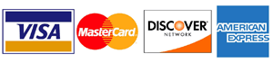We Accept Visa Mastercard, Discover and American Express